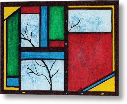 Abstract Metal Print featuring the painting Chromatic Vision by Linda Wimberly