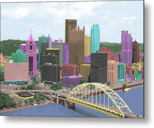 City Metal Print featuring the pyrography City Of Color by Dawn Call