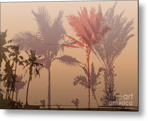 City Metal Print featuring the digital art Colorful Background With Silhouette Of by Romas photo