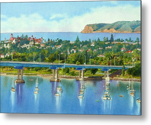 California Metal Print featuring the painting Coronado Island California by Mary Helmreich