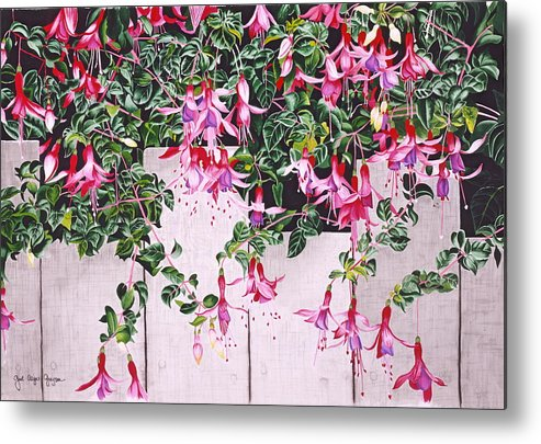 Fuchsias Metal Print featuring the painting Dangling Damsels by Gael Graysen