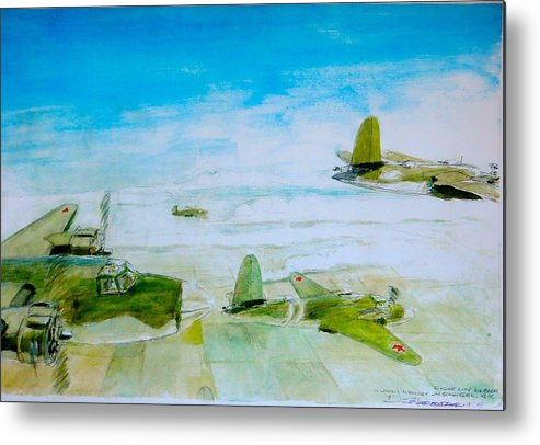 Wwii Airplanes Metal Print featuring the painting D.c. Mauraders by Don Schroeder