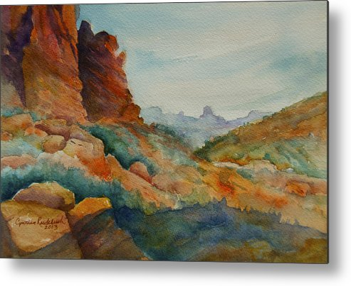 Landscape Metal Print featuring the painting Desert Colors by Cynthia Roudebush