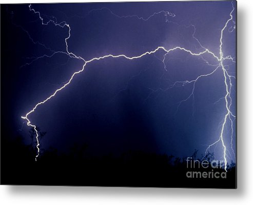 Lightning Metal Print featuring the photograph Desert In The Dark by J L Woody Wooden
