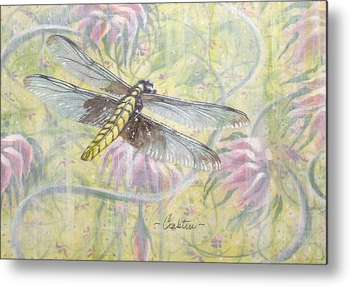 Dragonfly Fantasy Metal Print featuring the painting Dragonfly Fantasy by Elizabeth Crabtree