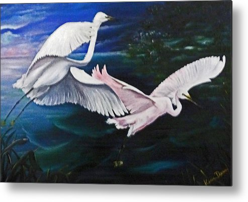 Snowy Egrets Metal Print featuring the painting Early Flight by Karin Dawn Kelshall- Best