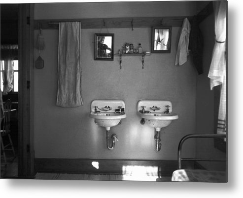 1936 Metal Print featuring the photograph Farmhouse Washroom, 1936 by Granger