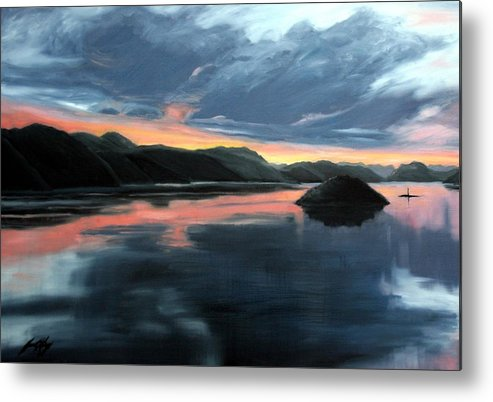 Sunrise Metal Print featuring the painting Farsund Sunrise by Janet King
