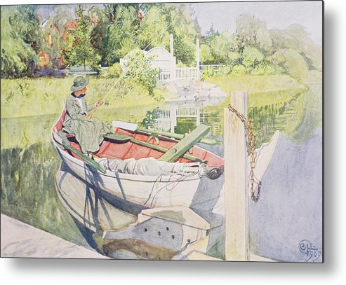 Sunshine Metal Print featuring the painting Fishing by Carl Larsson