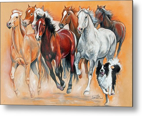 Herd Of Horses Running With A Dog Metal Print featuring the pastel Fun With The Herd by Valerie Yvette Smith