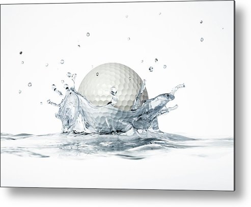 Artwork Metal Print featuring the photograph Golf Ball Splashing Into Water by Leonello Calvetti