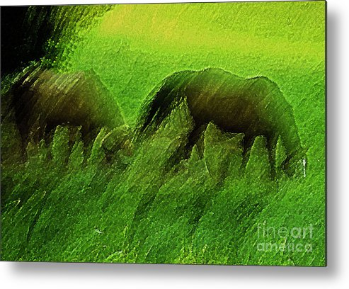 Landscape Horses Metal Print featuring the photograph grazing Horses watercolor by Fred L Gardner