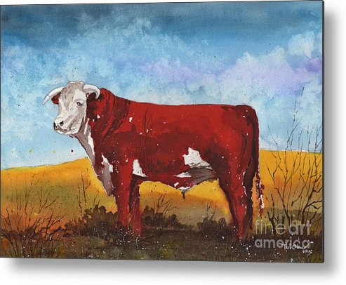 Hereford Bull Metal Print featuring the painting Hereford Bull by Tim Oliver