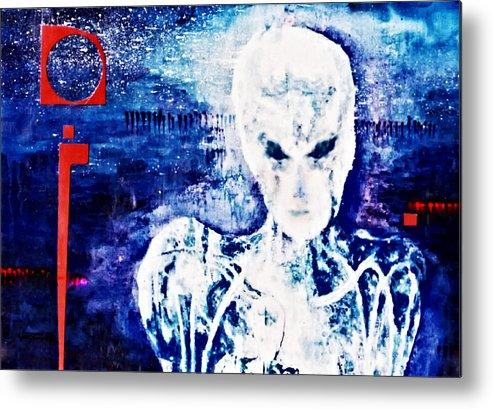 Humanoid Metal Print featuring the painting Humanoid by Hartmut Jager
