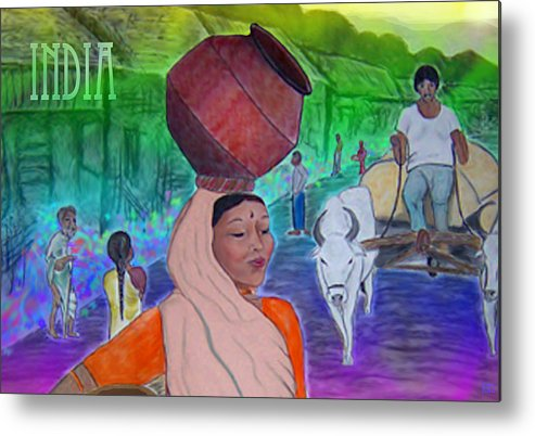 India Metal Print featuring the digital art India by Karen R Scoville