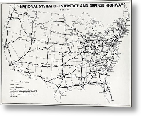 Map Metal Print featuring the photograph Interstate And Defense Highways 1958 by Compass Rose Maps