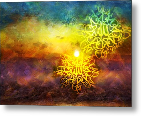 Islamic Metal Print featuring the painting Islamic Calligraphy 020 by Catf