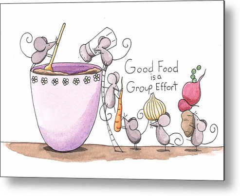 Kitchen Metal Print featuring the painting Kitchen Art Cooking Mice by Christy Beckwith