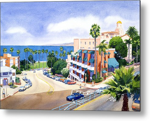 La Jolla Metal Print featuring the painting La Valencia And Prospect Park Inn Lj by Mary Helmreich