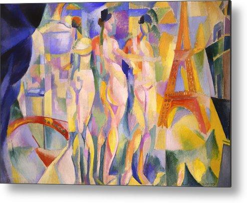 Painting Metal Print featuring the painting La Ville De Paris by Mountain Dreams