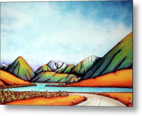 Lake Pearson Metal Print featuring the painting Lake Pearson 1999 Si Nz by Barbara Stirrup