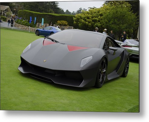 Car Metal Print Featuring The Photograph Lamborghini Sesto Elemento Front  By Timothy Iverson