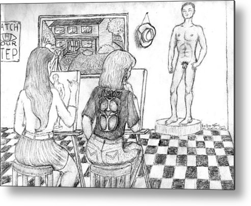 Metal Print featuring the drawing Life Drawing Class by Jon-Ross Habina