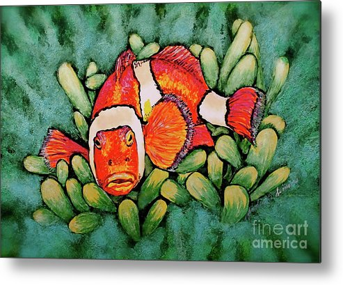 Fish Metal Print featuring the painting Mad Clown by Linda Simon