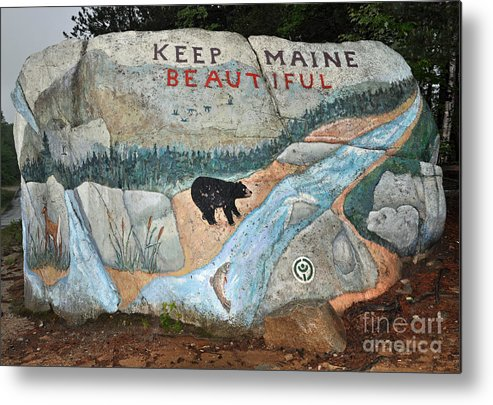 Baxter State Park Metal Print featuring the photograph Maine Rock Painting by Glenn Gordon