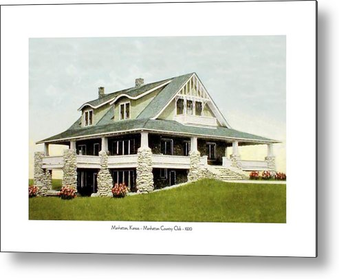 Country Club Metal Print featuring the digital art Manhattan Kansas - Manhattan Country Club - 1920 by John Madison