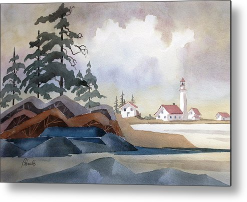Lighthouse Metal Print featuring the painting Metis Sur Mer 15x22 by Jean-Marc Berube