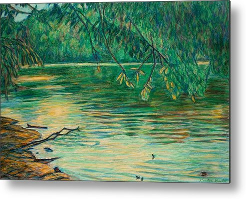 Landscape Metal Print featuring the painting Mid-spring On The New River by Kendall Kessler