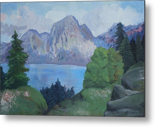 Landscape Metal Print featuring the painting Mountains On The Lake by Brandy Biederman