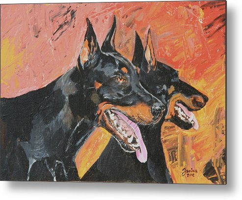 Dogs Metal Print featuring the painting My Dobermans by Janina Suuronen