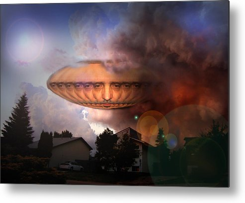 Surrealism Metal Print featuring the digital art Mystic Ufo by Otto Rapp