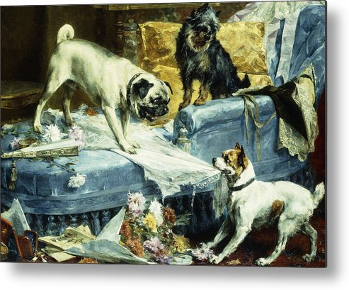 1890s Metal Print featuring the painting Playing Havoc by Charles van den Evcken