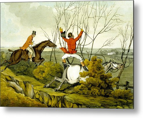Ditch; Jumping; Grey; Horse; Hunter; Hunting; Rider; Horseback; Unseated; Unhorsed; Falling; Landscape; Accident; Sport; Comical; Humorous Metal Print featuring the painting Plunging Through The Hedge From Qualified Horses And Unqualified Riders by Henry Thomas Alken
