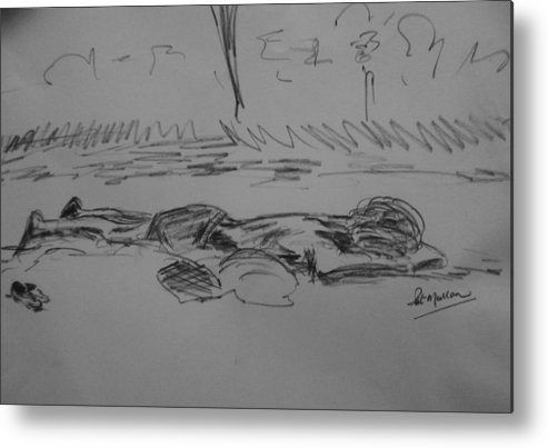 Life Metal Print featuring the drawing Prostrate by Pat Mullan