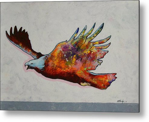 Wildlife Metal Print featuring the painting Rainbow Warrior Flying Eagle by Joe Triano