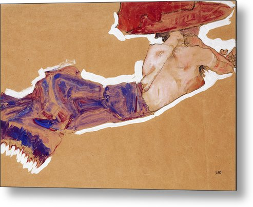 1910 Metal Print featuring the painting Reclining Semi-nude With Red Hat by Egon Schiele