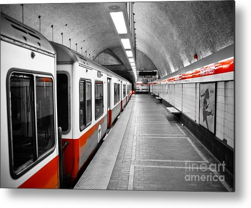 Red Metal Print featuring the photograph Red Line by Charles Dobbs