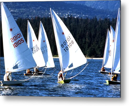Scenics; Sailboats; English Bay; Vancouver; British Columbia; Regattas; Still Lifes; Fine Art. Metal Print featuring the photograph Regatta by Robert Rodvik