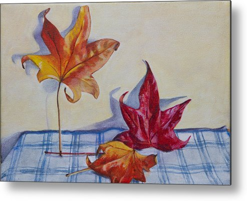 Autumn Leaves Metal Print featuring the painting Remnants Of Autumn by Teresa J Sharp