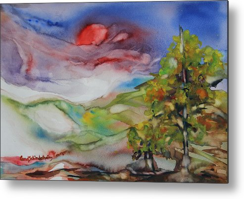 Rolling Hills Metal Print featuring the painting Rolling Hills - Spring Morning by Carol Schindelheim