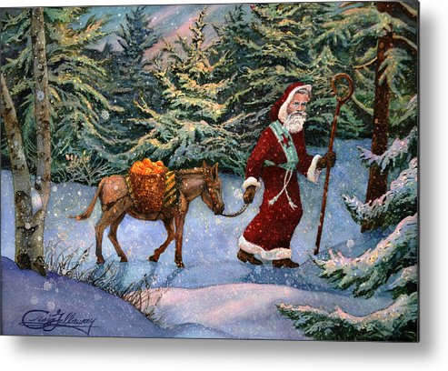 Saint Nicholas Metal Print featuring the painting Saint Nicholas With Oranges by Craig Gallaway