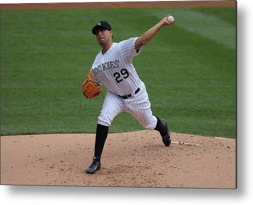 Jorge De La Rosa Metal Print featuring the photograph San Francisco Giants V Colorado Rockies by Doug Pensinger