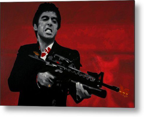Ludzska Metal Print featuring the painting Say Hello To My Little Friend by Luis Ludzska