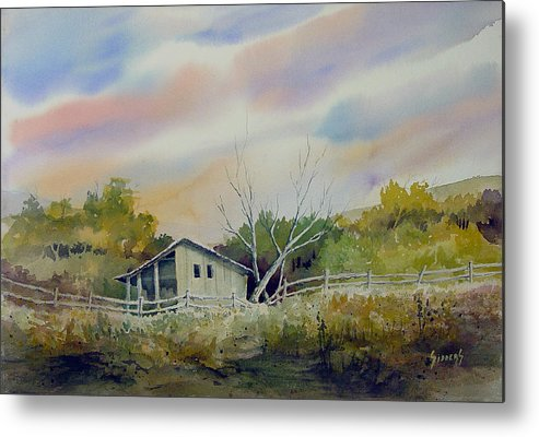 Shed Metal Print featuring the painting Shed With A Rail Fence by Sam Sidders