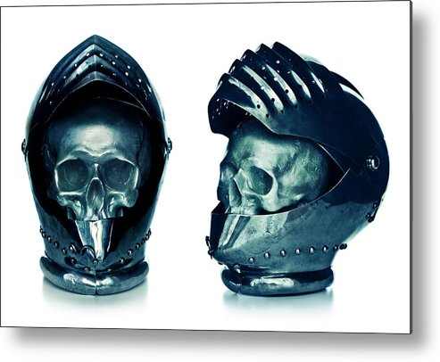 Creepy Metal Print featuring the photograph Skull Inside A Medieval Knigth Helmet by Roberto Adrian