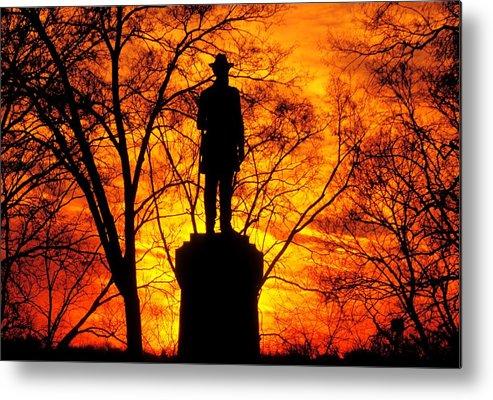 Civil War Metal Print featuring the photograph Sky Fire - Flames Of Battle 50th Pennsylvania Volunteer Infantry-a1 Sunset Antietam by Michael Mazaika